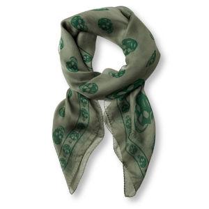 ALEXANDER MCQUEEN Chiffon skull scarf green