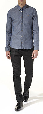 BURBERRY PRORSUM<br /> Edged placket chambray shirt