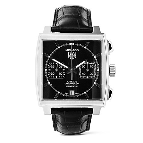 TAG HEUER Monaco automatic chronograph watch with black dial